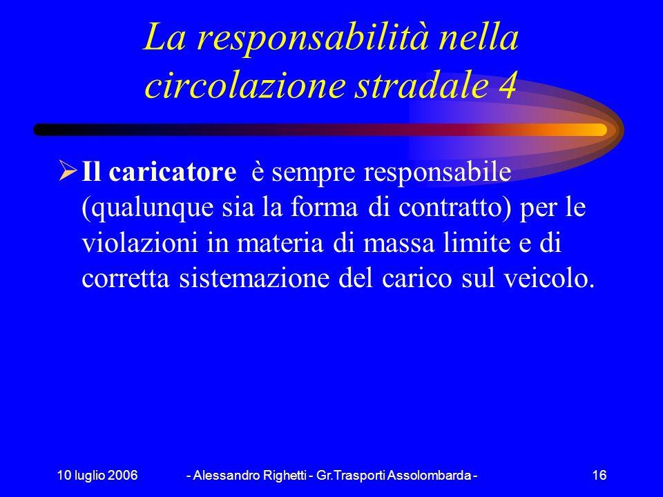 10 luglio 2006- Alessandro Righetti - Gr.Trasporti Assolombarda -15 La responsabilità nella circolazione stradale 3 Nel caso in cui il contratto NON s