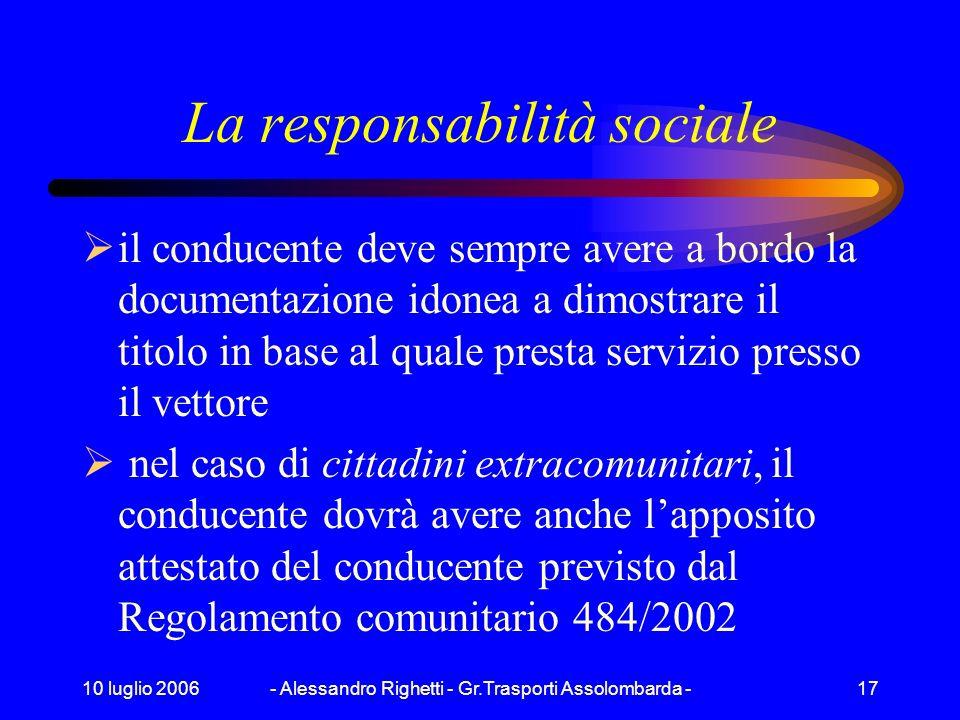 10 luglio 2006- Alessandro Righetti - Gr.Trasporti Assolombarda -16 La responsabilità nella circolazione stradale 4 Il caricatore è sempre responsabil