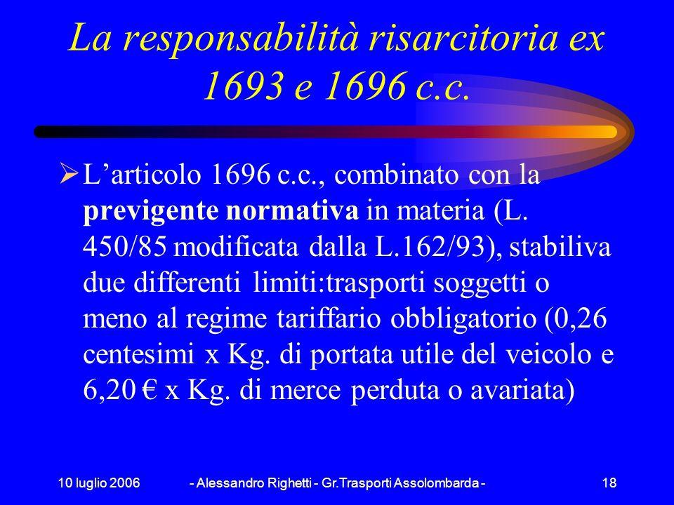 10 luglio 2006- Alessandro Righetti - Gr.Trasporti Assolombarda -17 La responsabilità sociale il conducente deve sempre avere a bordo la documentazion