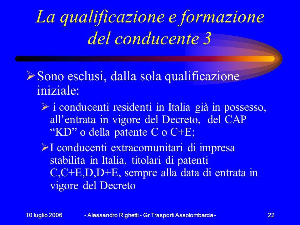 10 luglio 2006- Alessandro Righetti - Gr.Trasporti Assolombarda -21 La qualificazione e formazione del conducente 2 La normativa riguarderà: i conduce