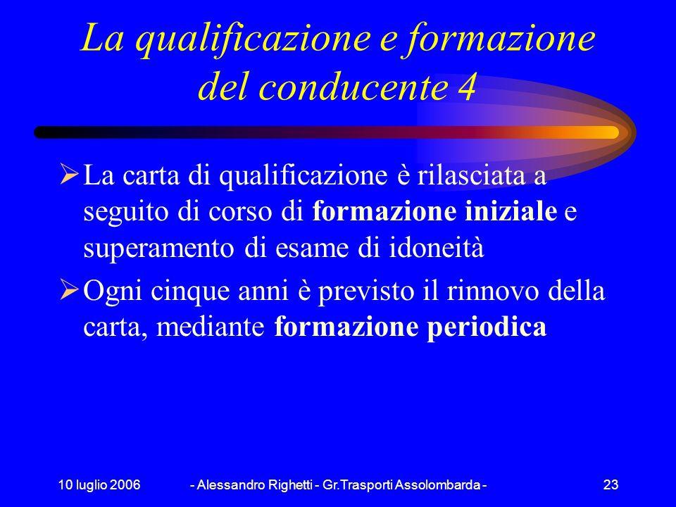 10 luglio 2006- Alessandro Righetti - Gr.Trasporti Assolombarda -22 La qualificazione e formazione del conducente 3 Sono esclusi, dalla sola qualifica