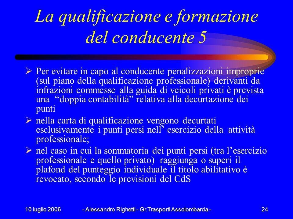 10 luglio 2006- Alessandro Righetti - Gr.Trasporti Assolombarda -23 La qualificazione e formazione del conducente 4 La carta di qualificazione è rilas