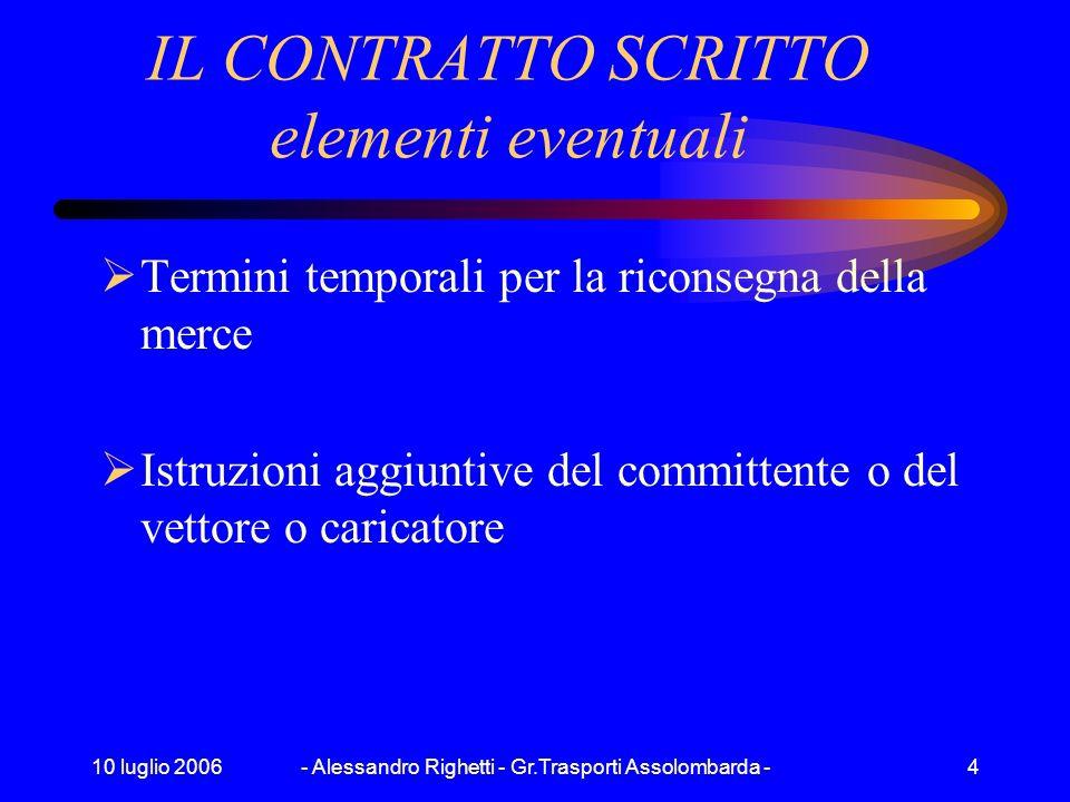 10 luglio 2006- Alessandro Righetti - Gr.Trasporti Assolombarda -4 IL CONTRATTO SCRITTO elementi eventuali Termini temporali per la riconsegna della merce Istruzioni aggiuntive del committente o del vettore o caricatore