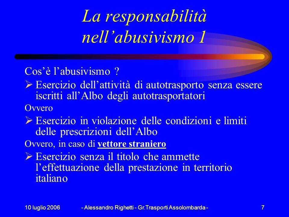 10 luglio 2006- Alessandro Righetti - Gr.Trasporti Assolombarda -7 La responsabilità nellabusivismo 1 Cosè labusivismo .