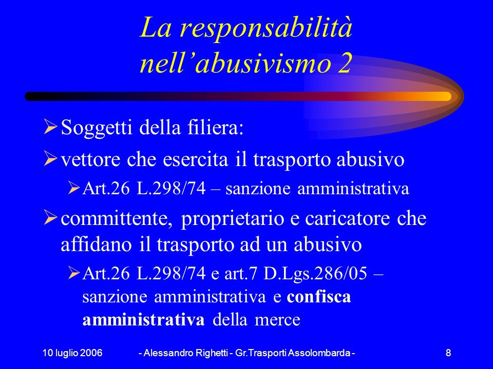 10 luglio 2006- Alessandro Righetti - Gr.Trasporti Assolombarda -7 La responsabilità nellabusivismo 1 Cosè labusivismo ? Esercizio dellattività di aut