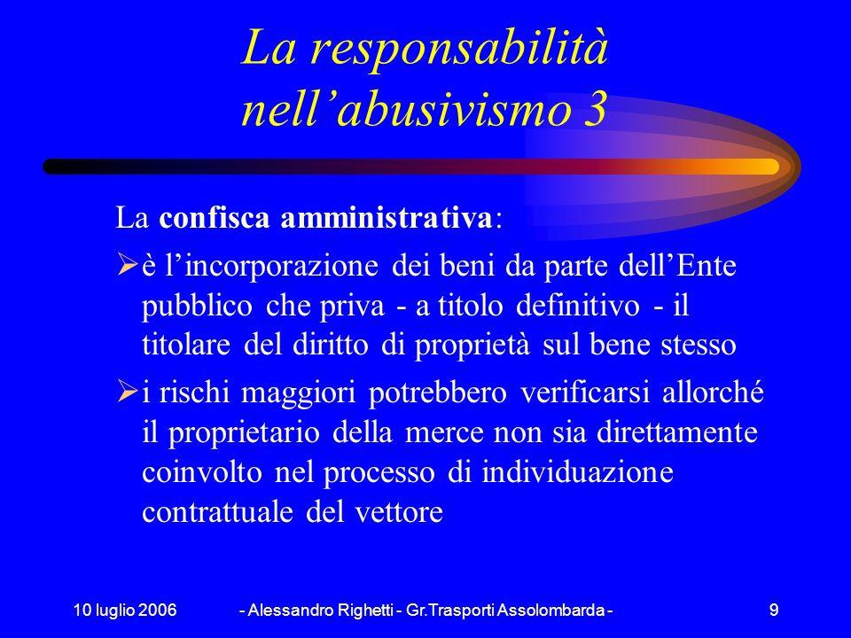 10 luglio 2006- Alessandro Righetti - Gr.Trasporti Assolombarda -8 La responsabilità nellabusivismo 2 Soggetti della filiera: vettore che esercita il