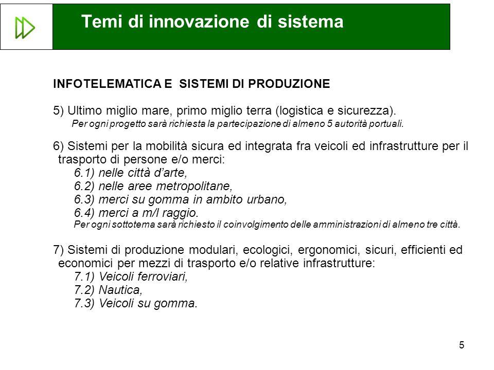 5 INFOTELEMATICA E SISTEMI DI PRODUZIONE 5) Ultimo miglio mare, primo miglio terra (logistica e sicurezza).