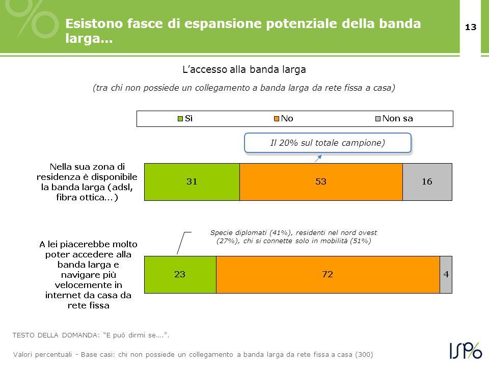 13 Esistono fasce di espansione potenziale della banda larga… Laccesso alla banda larga TESTO DELLA DOMANDA: E può dirmi se…..