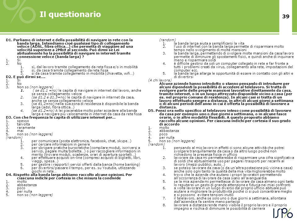 39 Il questionario D1.