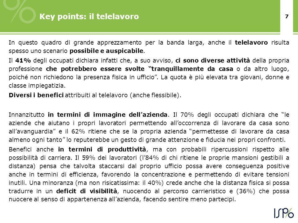 8 Key points: il telelavoro Molto condivisi invece da chi prefigura il telelavoro come possibile per la propria attività i benefici per i lavoratori stessi.
