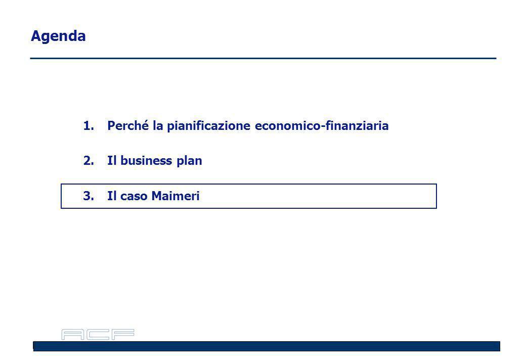 Agenda 1.Perché la pianificazione economico-finanziaria 2.Il business plan 3.Il caso Maimeri