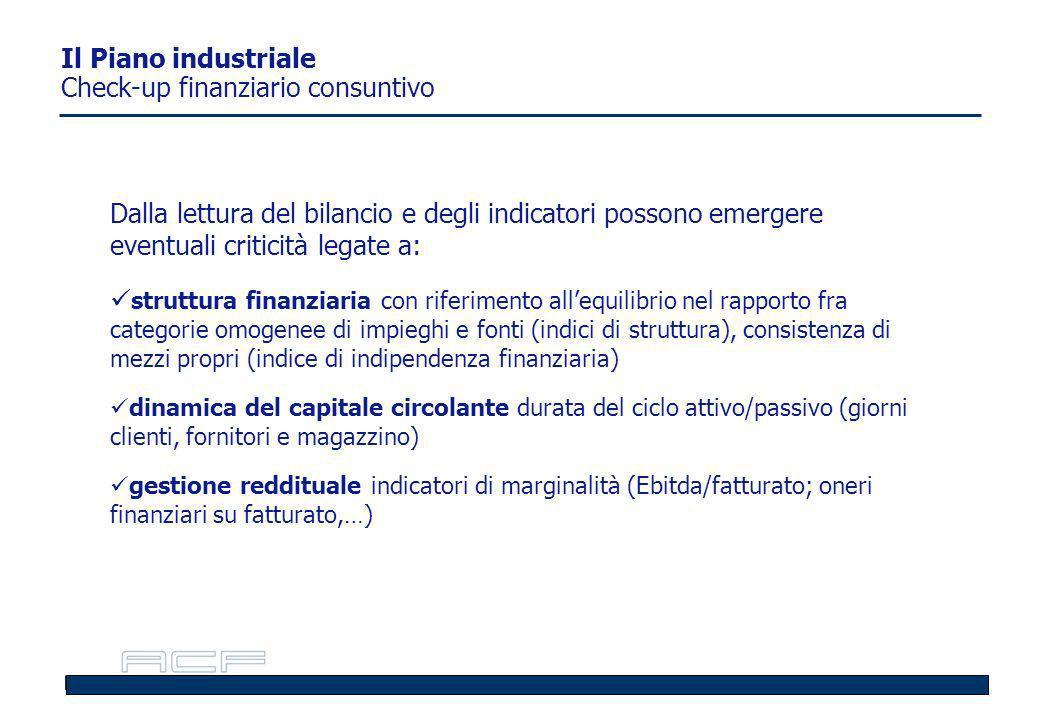 Il Piano industriale Check-up finanziario consuntivo: il conto economico