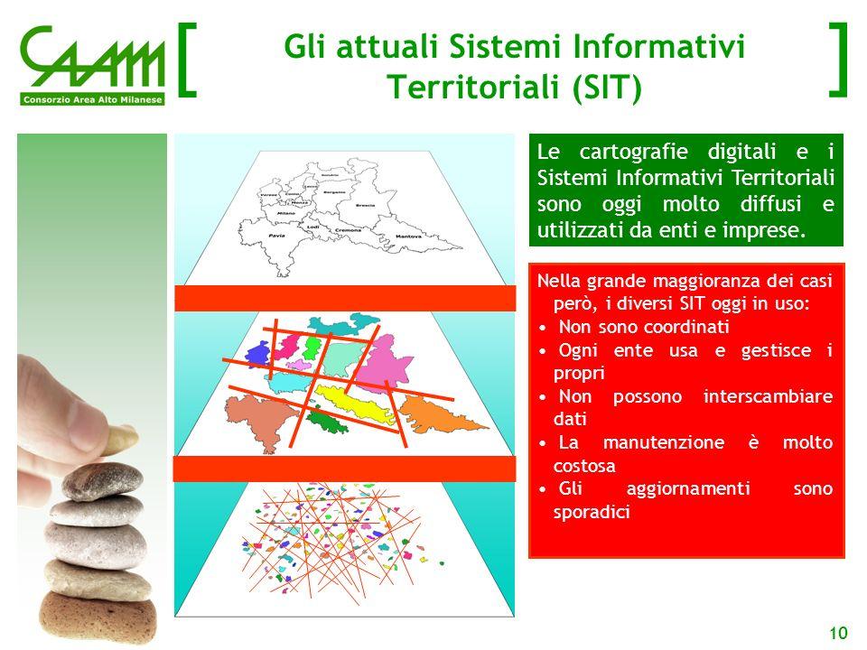 [ ] 10 Gli attuali Sistemi Informativi Territoriali (SIT) Le cartografie digitali e i Sistemi Informativi Territoriali sono oggi molto diffusi e utilizzati da enti e imprese.