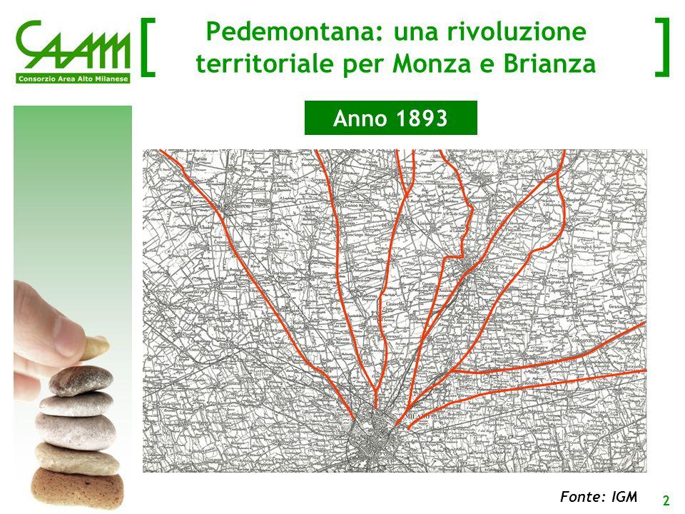 [ ] 3 Fonte: Osservatorio Territoriale Infrastrutture Nord Ovest Pedemontana: una rivoluzione territoriale per Monza e Brianza Anno 2015