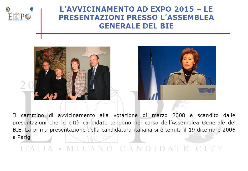 LAVVICINAMENTO AD EXPO 2015 – LE PRESENTAZIONI PRESSO LASSEMBLEA GENERALE DEL BIE Il cammino di avvicinamento alla votazione di marzo 2008 è scandito
