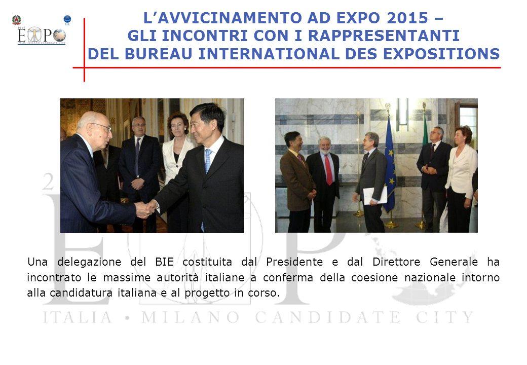 LAVVICINAMENTO AD EXPO 2015 – GLI INCONTRI CON I RAPPRESENTANTI DEL BUREAU INTERNATIONAL DES EXPOSITIONS Una delegazione del BIE costituita dal Presid