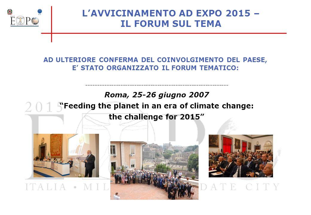 LAVVICINAMENTO AD EXPO 2015 – IL FORUM SUL TEMA -------------------------------------------------------------- Roma, 25-26 giugno 2007 Feeding the pla