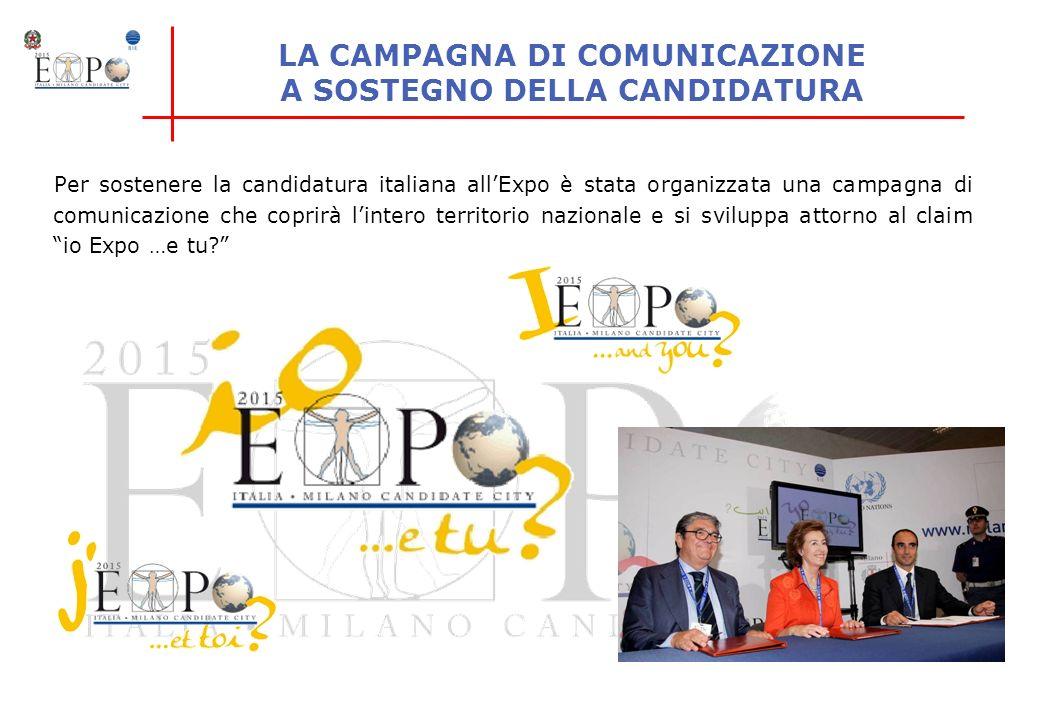 LA CAMPAGNA DI COMUNICAZIONE A SOSTEGNO DELLA CANDIDATURA Per sostenere la candidatura italiana allExpo è stata organizzata una campagna di comunicazi
