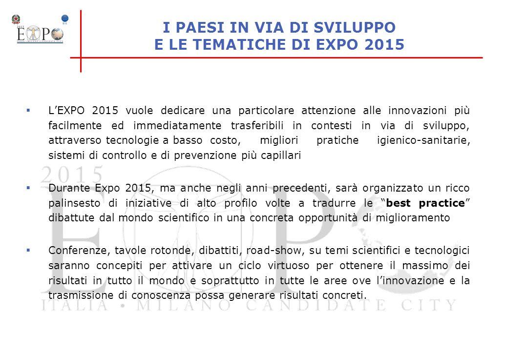 LEXPO IN CIFRE 14.299 milioni di Euro di cui: 3.228 mln di investimenti infrastrutturali per Expo Milano 2015 ottenuti attraverso un mix pubblico/privato (28% finanziamenti privati, 26% finanziamenti da enti pubblici, 46% finanziamenti legge dello Stato per Expo) 892 mln per la gestione operativa di cui - 161 mln da utilizzare per marketing e pubblicità - 133 mln da investire per servizi di intrattenimento e attrazioni del sito 10.179 mln di investimenti nazionali per progetti infrastrutturali pianificati nella Regione