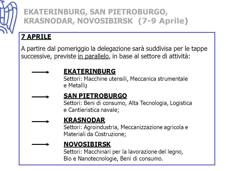7 APRILE A partire dal pomeriggio la delegazione sarà suddivisa per le tappe successive, previste in parallelo, in base al settore di attività: EKATERINBURG Settori: Macchine utensili, Meccanica strumentale e Metalli; SAN PIETROBURGO Settori: Beni di consumo, Alta Tecnologia, Logistica e Cantieristica navale; KRASNODAR Settori: Agroindustria, Meccanizzazione agricola e Materiali da Costruzione; NOVOSIBIRSK Settori: Macchinari per la lavorazione del legno, Bio e Nanotecnologie, Beni di consumo.