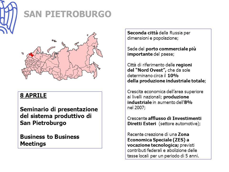 SAN PIETROBURGO 8 APRILE Seminario di presentazione del sistema produttivo di San Pietroburgo Business to Business Meetings Seconda città della Russia per dimensioni e popolazione; Sede del porto commerciale più importante del paese; Città di riferimento delle regioni del Nord Ovest, che da sole determinano circa il 10% della produzione industriale totale; Crescita economica dellarea superiore ai livelli nazionali; produzione industriale in aumento dell8% nel 2007; Crescente afflusso di Investimenti Diretti Esteri (settore automotive); Recente creazione di una Zona Economica Speciale (ZES) a vocazione tecnologica; previsti contributi federali e abolizione delle tasse locali per un periodo di 5 anni.