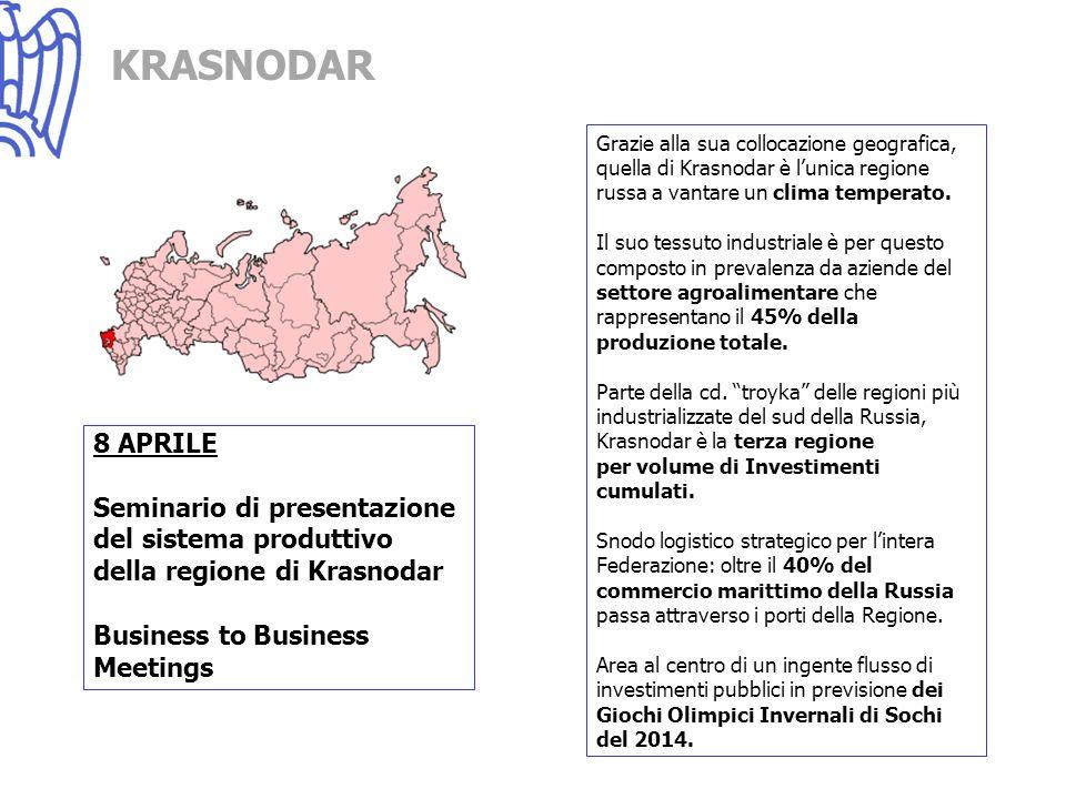 NOVOSIBRSK 9 APRILE Seminario di presentazione del sistema produttivo della regione di Novosibirsk e del distretto della Siberia Business to Business Meetings Terza città più popolata della Russia dopo Mosca e San Pietrroburgo; Principale area daffari della parte asiatica della Federazione, è sede di oltre l80% delle imprese che operano nelle Regione Siberiane; Tra i più importanti centri scientifici della Russia, nella Regione di Novosibirsk si trovano circa 40 Istituti dellAccademia delle Scienze e di oltre e 100 laboratori di ricerca; Il know-how tecnico-scientifico sviluppato nei laboratori di ricerca della regione è alla base di un sistema industriale incentrato sullindustria manifattuiriera, su quella della lavorazione del legno e della trasformazione agricola.