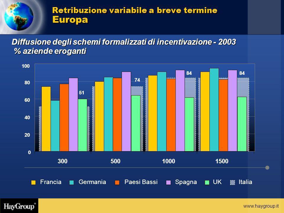 www.haygroup.it Retribuzione variabile a breve termine Europa Diffusione degli schemi formalizzati di incentivazione - 2003 % aziende eroganti 84 74 5