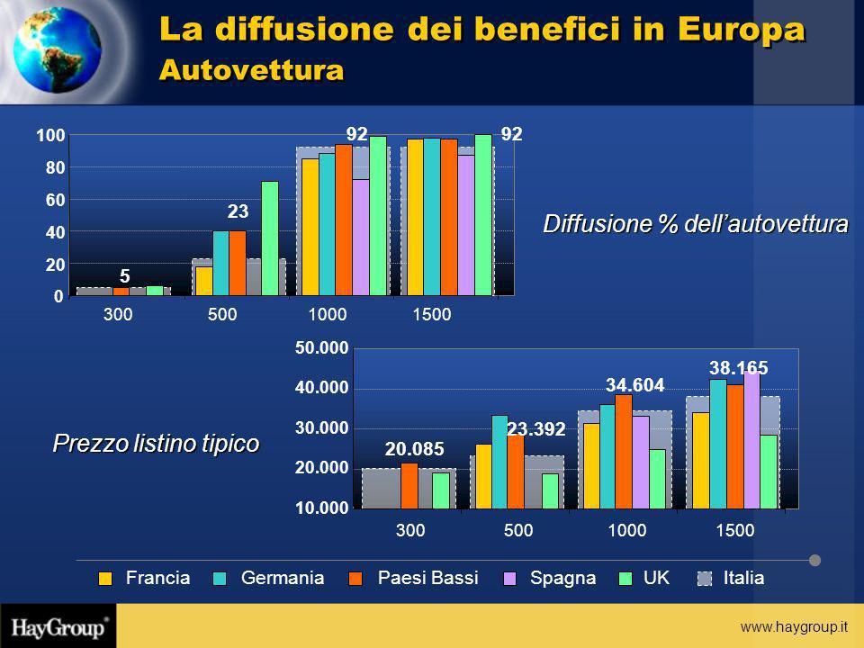 www.haygroup.it Diffusione % dellautovettura Prezzo listino tipico La diffusione dei benefici in Europa Autovettura 5 23 92 0 20 40 60 80 100 30050010
