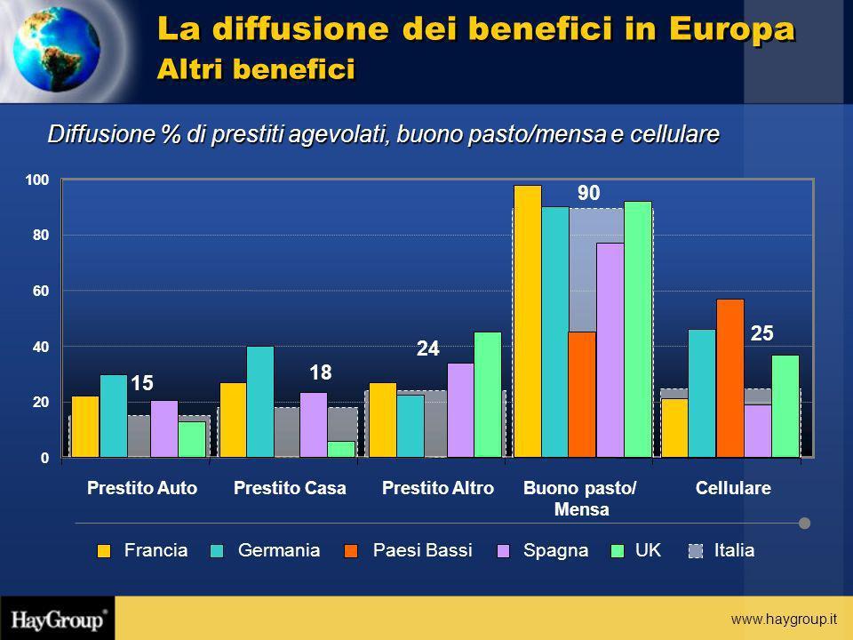 www.haygroup.it Diffusione % di prestiti agevolati, buono pasto/mensa e cellulare La diffusione dei benefici in Europa Altri benefici 25 15 18 24 90 0