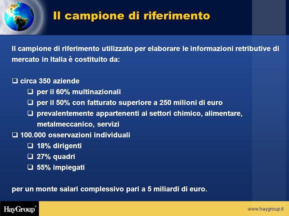 www.haygroup.it Il campione di riferimento Il campione di riferimento utilizzato per elaborare le informazioni retributive di mercato in Italia è cost