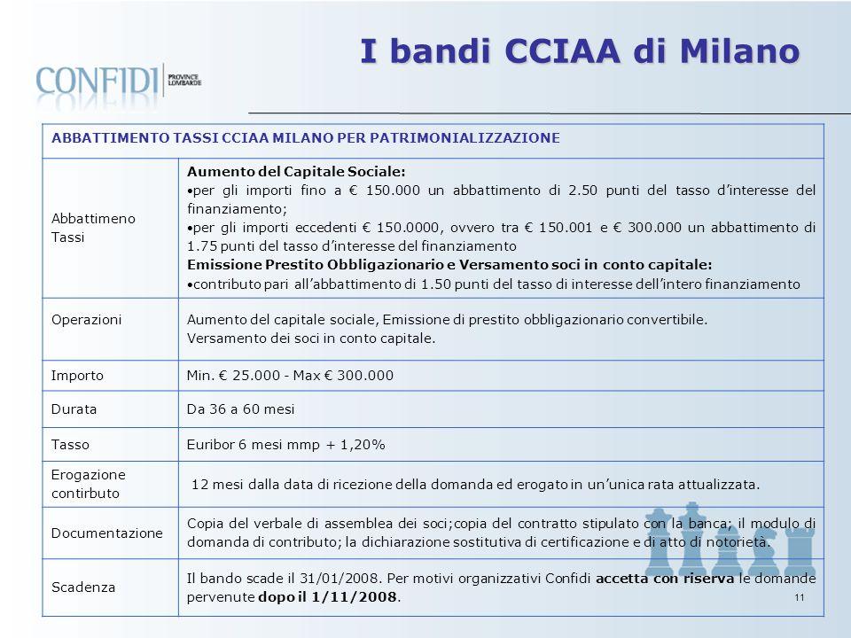 10 I bandi CCIAA di Milano ABBATTIMENTO TASSI CCIAA MILANO PER INVESTIMENTI Abbattimeno Tassi - per la parte di spesa fino a 100.000,00 euro: abbattim