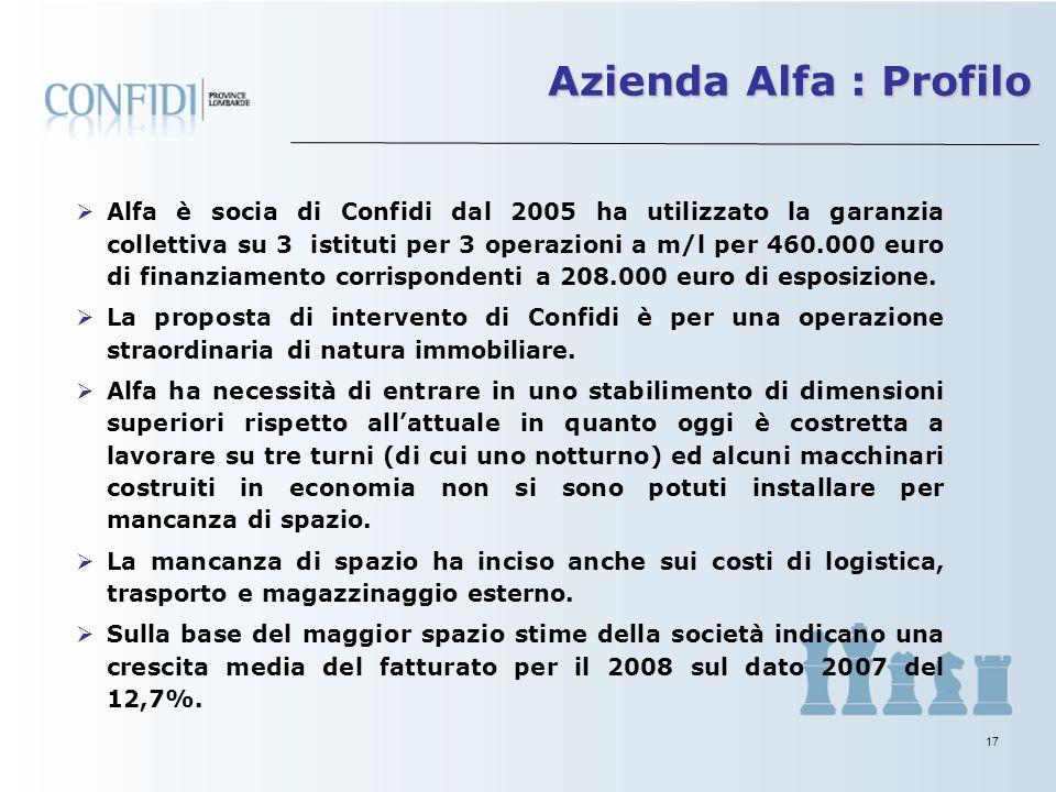 16 Fondata nel 1993 la società Alfa ha per oggetto la produzione di macchinari e automazioni per la lavorazione di metalli nonché lavorazioni speciali