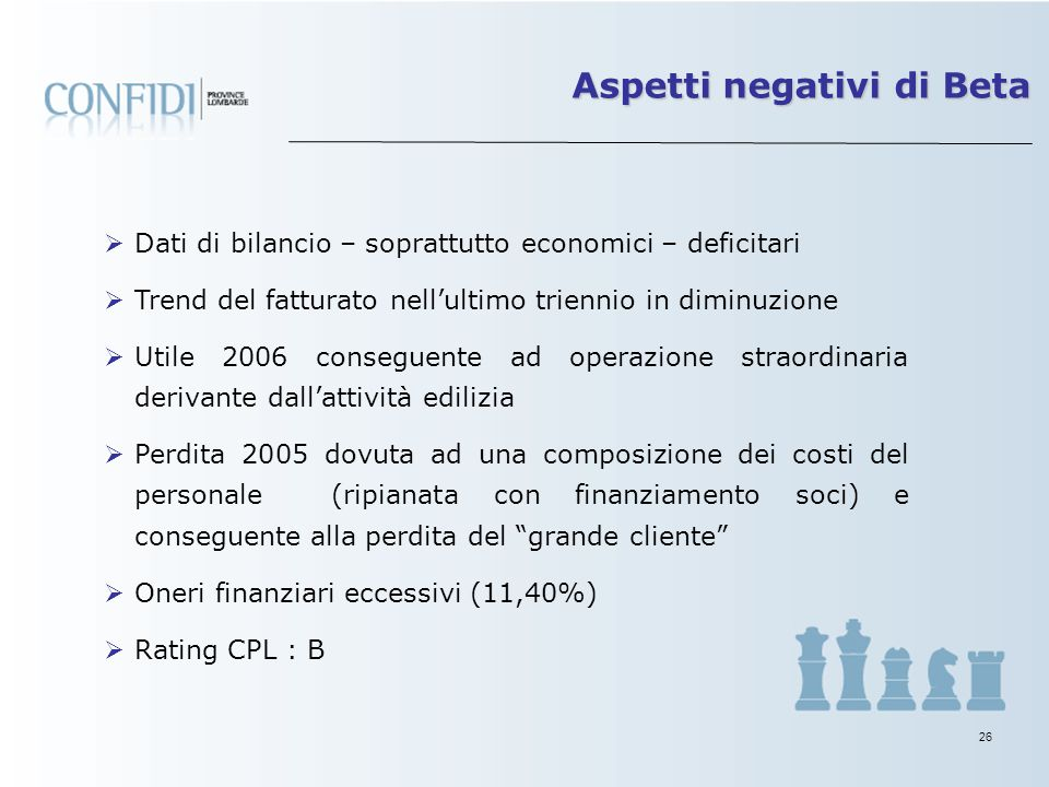 25 La Centrale Rischi – regolare - a maggio 2007 segnala: 4 banche Utilizzi totali per 1.321 mila euro (390.000 autoliquidante, 186.000 c/c e 744.000
