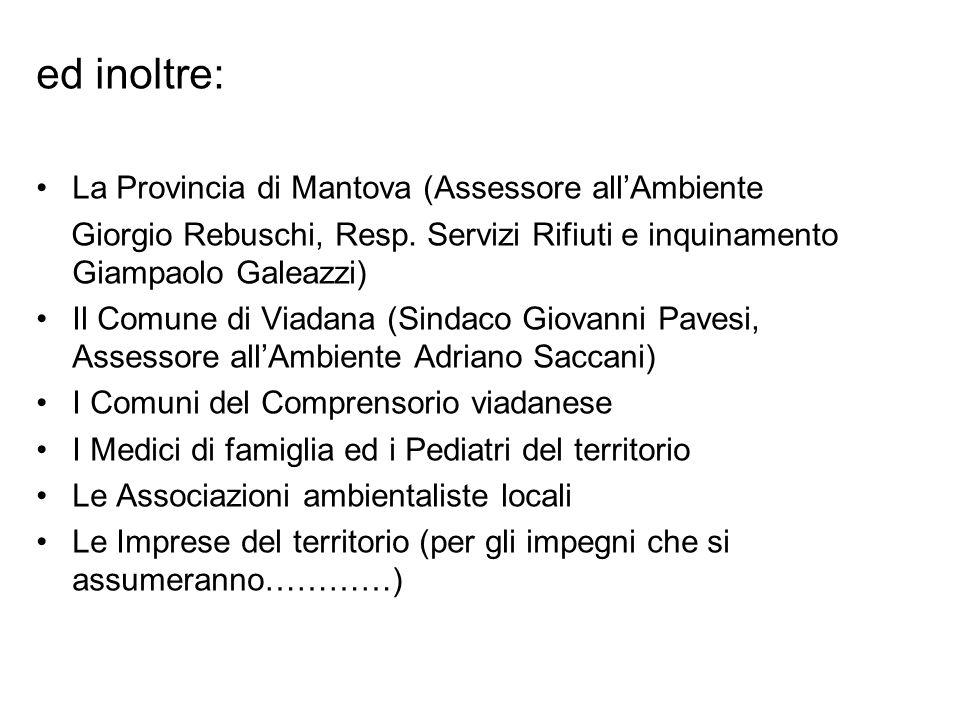 ed inoltre: La Provincia di Mantova (Assessore allAmbiente Giorgio Rebuschi, Resp. Servizi Rifiuti e inquinamento Giampaolo Galeazzi) Il Comune di Via