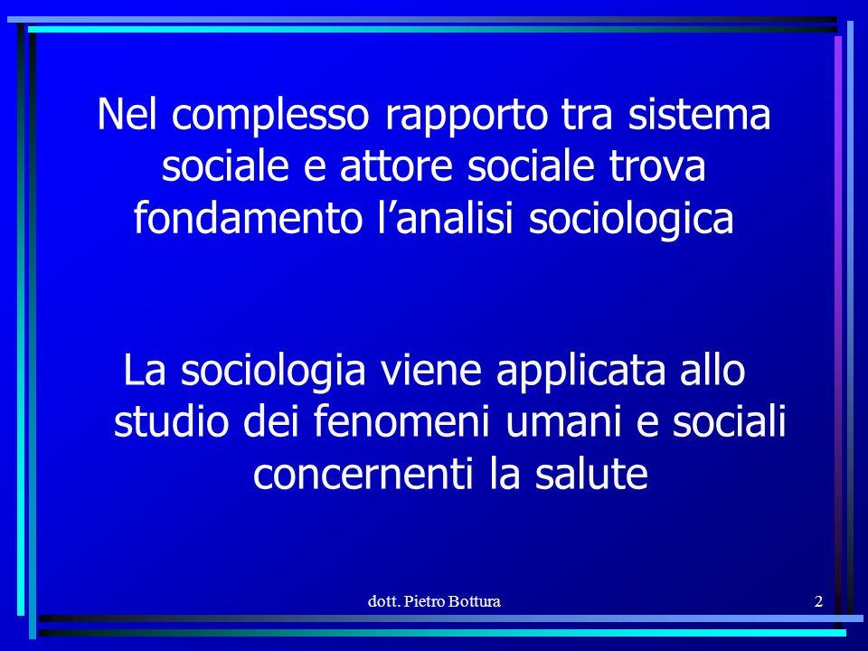 2 Nel complesso rapporto tra sistema sociale e attore sociale trova fondamento lanalisi sociologica La sociologia viene applicata allo studio dei fenomeni umani e sociali concernenti la salute