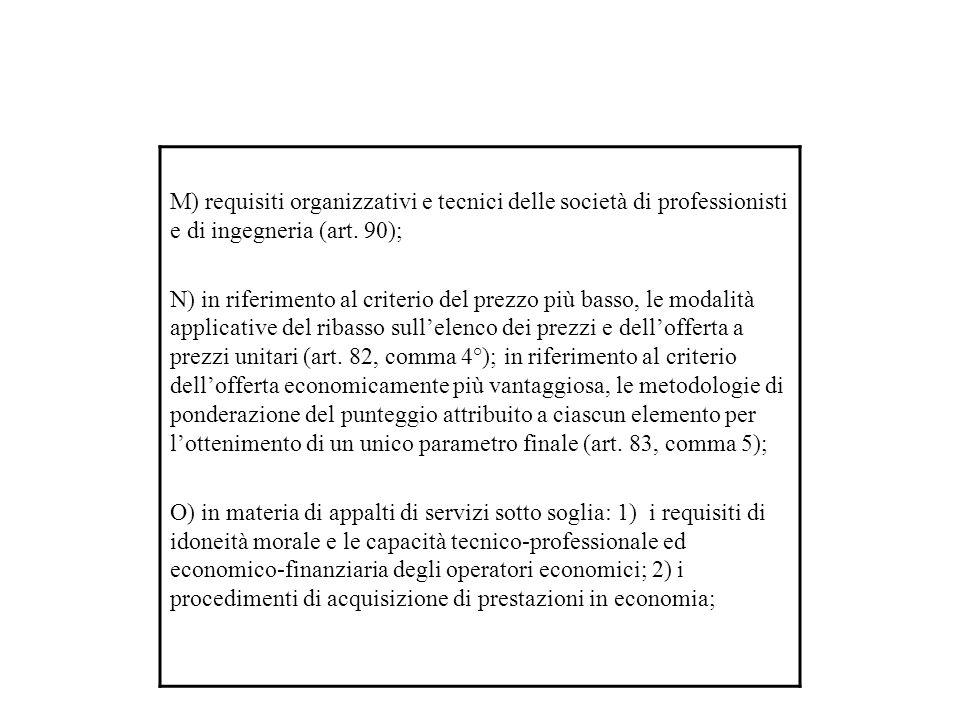 M) requisiti organizzativi e tecnici delle società di professionisti e di ingegneria (art.