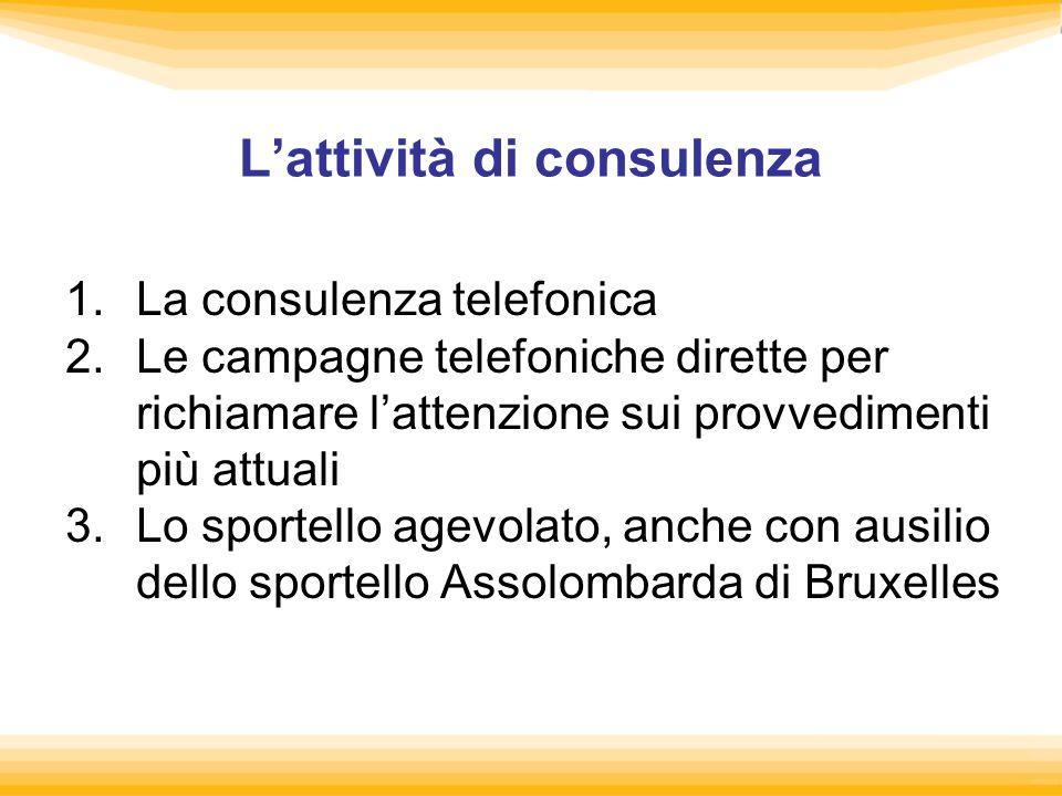Lattività di consulenza 1.La consulenza telefonica 2.Le campagne telefoniche dirette per richiamare lattenzione sui provvedimenti più attuali 3.Lo spo