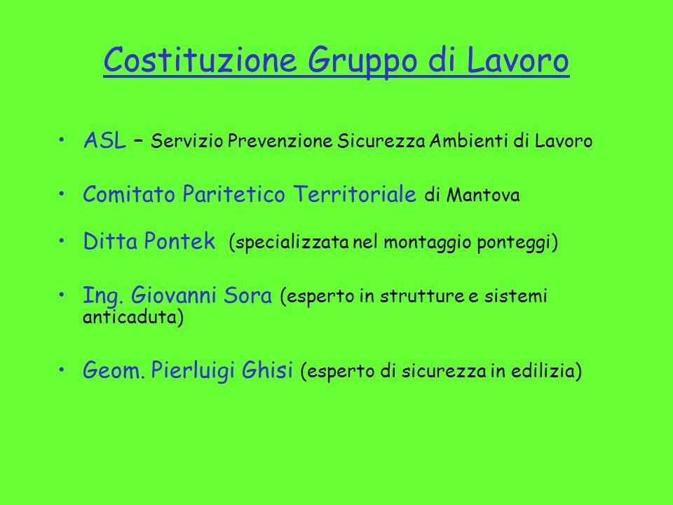 Costituzione Gruppo di Lavoro ASL – Servizio Prevenzione Sicurezza Ambienti di Lavoro Comitato Paritetico Territoriale di Mantova Ditta Pontek (specia