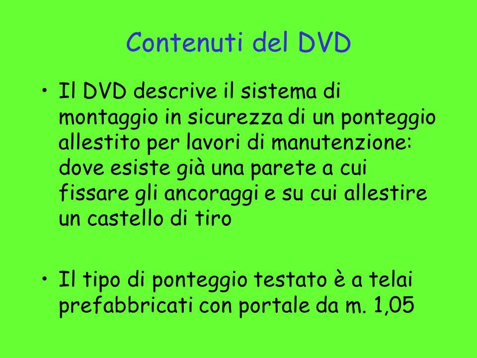 Contenuti del DVD Il DVD descrive il sistema di montaggio in sicurezza di un ponteggio allestito per lavori di manutenzione: dove esiste già una paret