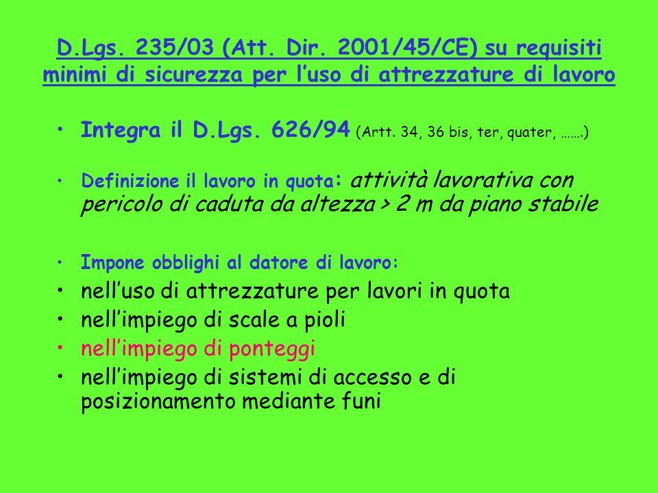 D.Lgs. 235/03 (Att. Dir. 2001/45/CE) su requisiti minimi di sicurezza per luso di attrezzature di lavoro Integra il D.Lgs. 626/94 (Artt. 34, 36 bis, t