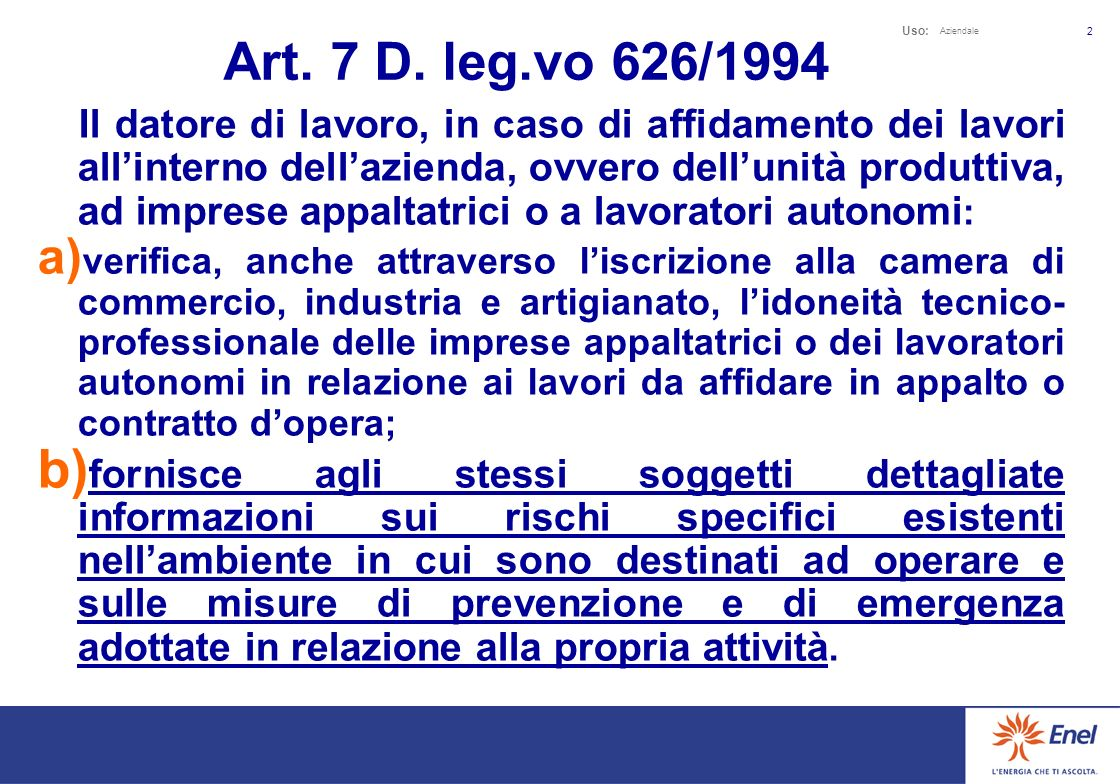 Uso: Aziendale 1 Art. 3 D.