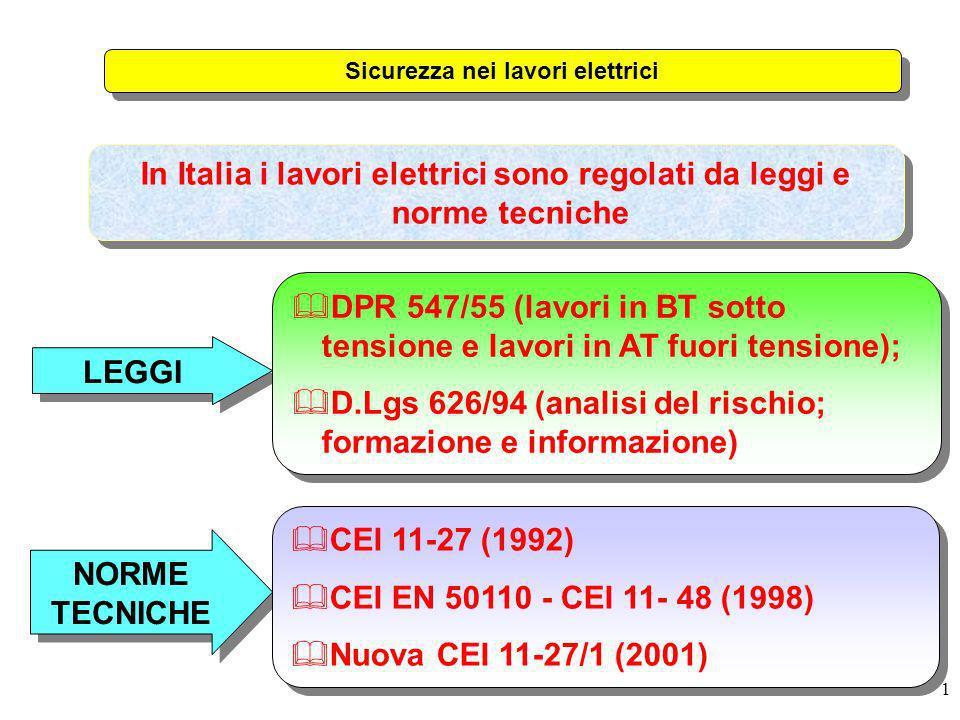 1 In Italia i lavori elettrici sono regolati da leggi e norme tecniche LEGGI NORME TECNICHE &CEI 11-27 (1992) &CEI EN 50110 - CEI 11- 48 (1998) &Nuova