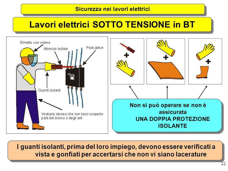 22 Sicurezza nei lavori elettrici Lavori elettrici SOTTO TENSIONE in BT Non si può operare se non è assicurata UNA DOPPIA PROTEZIONE ISOLANTE I guanti