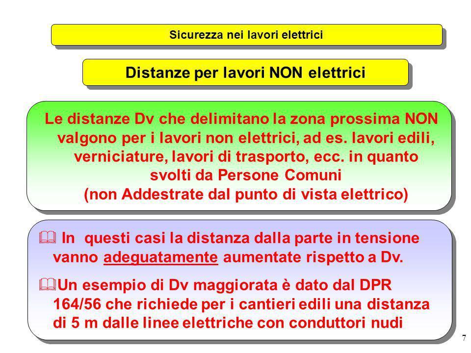 7 Sicurezza nei lavori elettrici Distanze per lavori NON elettrici Le distanze Dv che delimitano la zona prossima NON valgono per i lavori non elettri