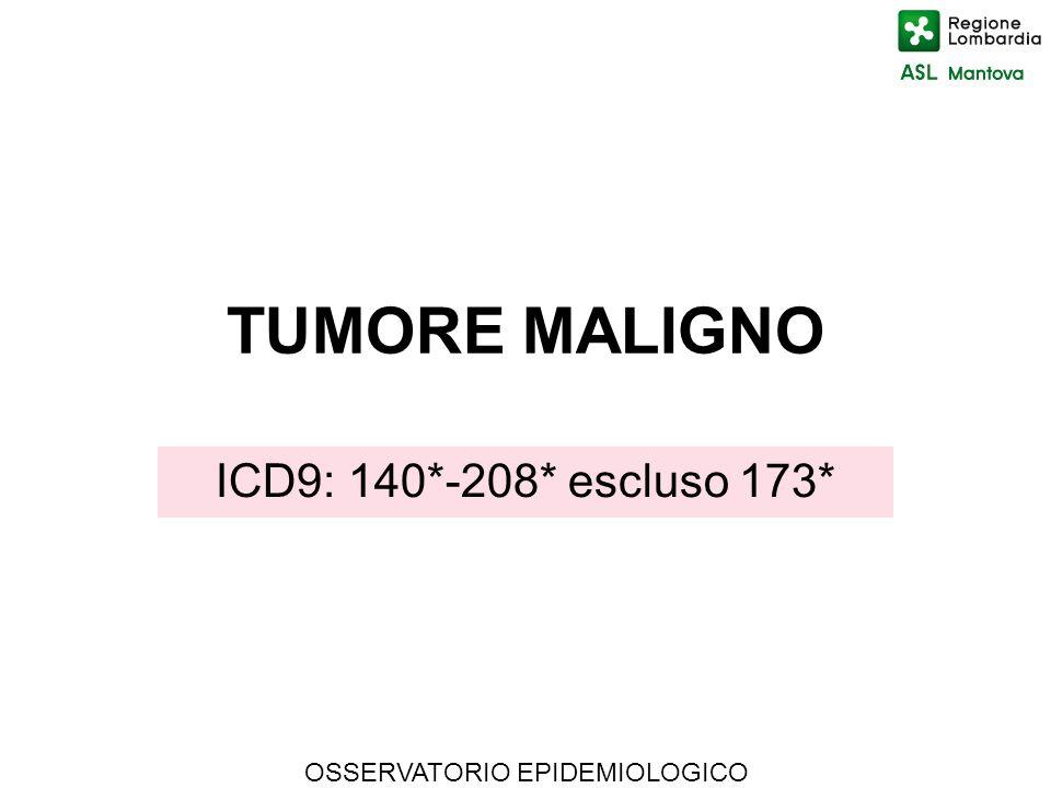 OSSERVATORIO EPIDEMIOLOGICO TUMORE MALIGNO ICD9: 140*-208* escluso 173*