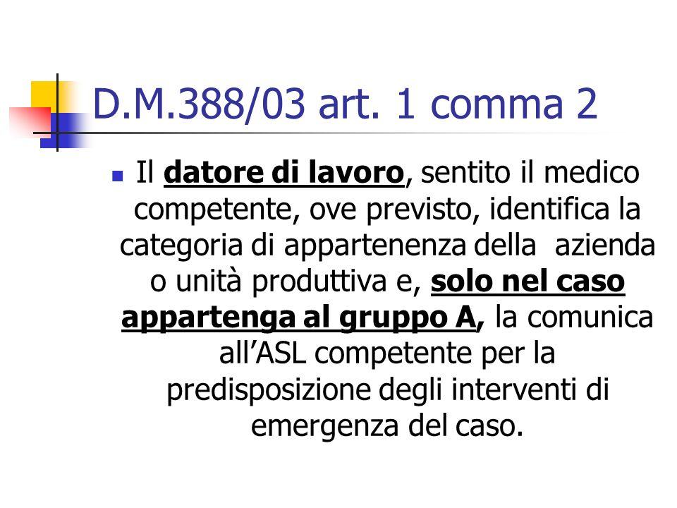 D.M.388/03 art. 1 comma 2 Il datore di lavoro, sentito il medico competente, ove previsto, identifica la categoria di appartenenza della azienda o uni