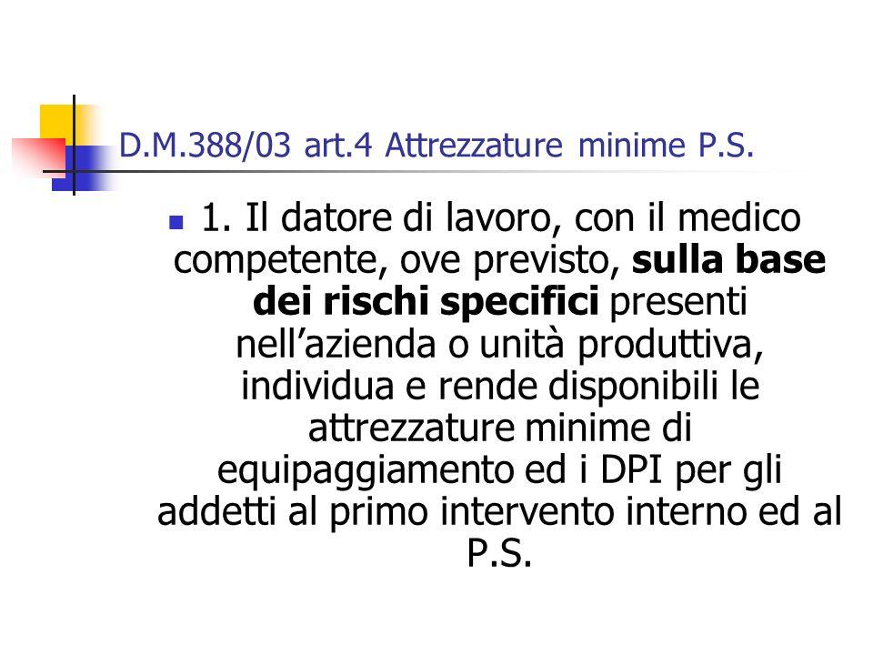 D.M.388/03 art.4 Attrezzature minime P.S. 1. Il datore di lavoro, con il medico competente, ove previsto, sulla base dei rischi specifici presenti nel