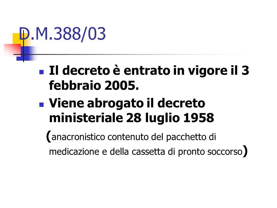 D.M.388/03 Il decreto è entrato in vigore il 3 febbraio 2005. Viene abrogato il decreto ministeriale 28 luglio 1958 ( anacronistico contenuto del pacc