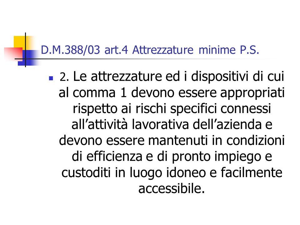 D.M.388/03 art.4 Attrezzature minime P.S. 2. Le attrezzature ed i dispositivi di cui al comma 1 devono essere appropriati rispetto ai rischi specifici