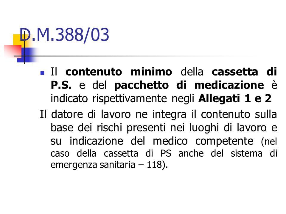 D.M.388/03 Il contenuto minimo della cassetta di P.S. e del pacchetto di medicazione è indicato rispettivamente negli Allegati 1 e 2 Il datore di lavo